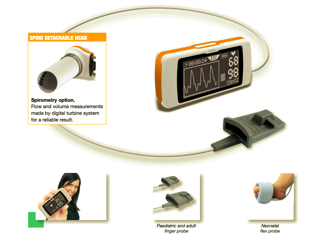 Spirometry option. Flow and volume measurements made by digital turbine system for a reliable result.